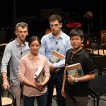 Gli allievi Direttori d'Orchestra Vladimir Ovodok, Vincenzo Milletarì, Erina Yashima e Su-Han Yang.